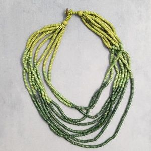 Green Ombre wooden layered necklace